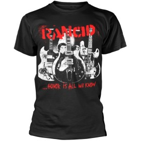 Rancid T Shirt Honor Is All We Know band logo 新しい 公式 メンズ ブラック