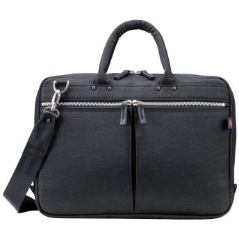 [豊岡鞄] ブリーフケース ヤマサキ商店 ナイロンブリーフ(小) ビジネスバッグ A4 PC キャリーオン メンズ クロ(内装イエロー)