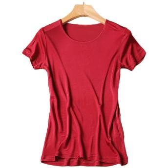 シルク クルーネック Tシャツ レディース 半袖 8色 シルク100% silk100% シンプル 一枚着用 重ね着 シンプル オシャレ 肌に優しい 敏感肌 低刺激 快適 保湿 (XL, ワインレッド)