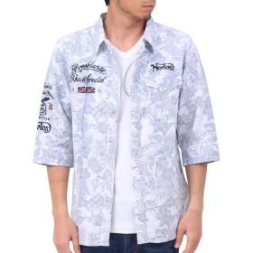 [ノートン] Norton シャツ 六分袖 接触冷感 裏プリント リゾート シャツ 192N1502 ネイビー XXL