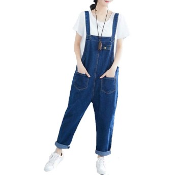 PASA レディース サロペット ジーンズ オールインワン デニムパンツ オーバーオール ロングパンツ ワイドパンツ ゆったり 大きいサイズ ブルー L