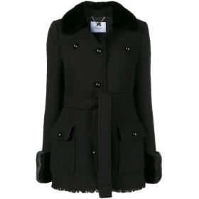 Blumarine ファートリム シングル コート - ブラック