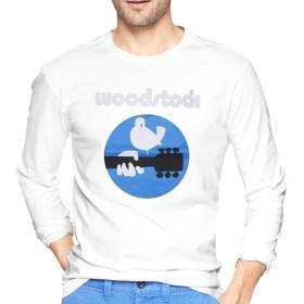 Woodstock ウッドストック ロゴ Tシャツ 長袖 メンズ ロングスリーブ 丸首 無地 綿 カジュアル ゆったり 薄手 4色 大きいサイズ