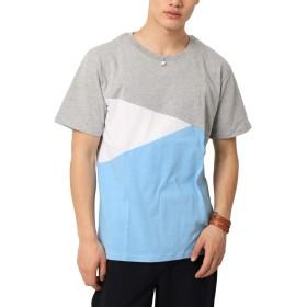 (アーケード) ARCADE Tシャツ メンズ 切り替え クレイジー デザイン L 5-サックス【Aタイプ】