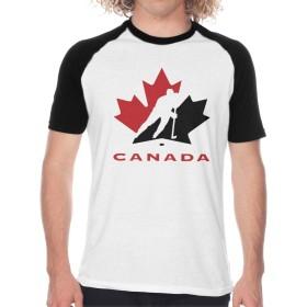 アイス・ホッケー・カナダ ロゴ Tシャツ メンズ ラグラン 野球服 速乾性 柔らかい 通気性 半袖 丸首 ブラックカジュアル