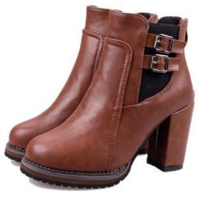 [ツネユウシューズ] サイドゴアブーツ レディース ショートブーツショートブーツ ブーティ 歩きやすい アンクルブーツ ブーティー カッコイイ 靴 袴ブーツ 25cm 黒 茶色 ヒール チャンキーヒール 大きい 幅広 ベルド付き 疲れない