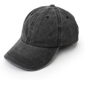 Aness (アネス) ローキャップ 無地 ラウンドつば コットン デニム カジュアル BBキャップ アジャスター付き 帽子 ストリートキャップ CAP ユニセックス レディース Fサイズ #n907 (ブラック)