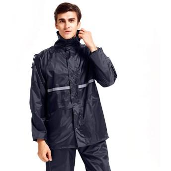 WARMQ かっぱ 雨合羽 rain coat レインコート 上下セット レインウェア 通湿性 着脱式合羽 レインスーツ 快適 二重構造帽子 男女兼用 アウトドア 釣り 自転車 バイク 通学 通勤 (M, 青い)