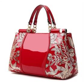 【G-AVERIL】新型女子バッグ エナメル革ハンドバッグ欧米斜めかけショルダートートバッグ エナメル革刺繍女子斜めかけハンドバッグ OL通勤斜めかけショルダーバッグ