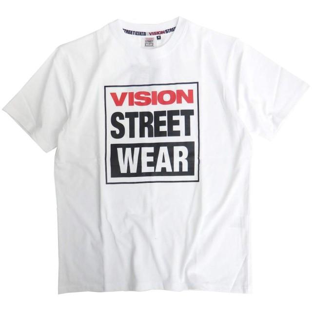 VISION Tシャツ マグロゴ 半袖Tシャツ メンズ ヴィジョンストリートウェア ロゴプリント (Mサイズ, オフホワイト)