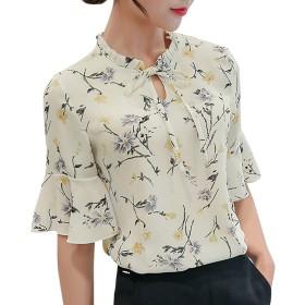 シフォン 半袖 花柄シャツ レディース