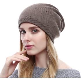 QUEENFUR ニット帽おしゃれカシミヤキャップウールあったか大きいサイズラインストーン付き秋冬防寒旅行クリスマスプレゼント