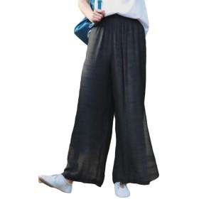 BSCOOLレディース 綿 麻 ワイドパンツ 無地 ロングパンツ ストレートパンツ カジュアルパンツ 夏 秋(B黒)
