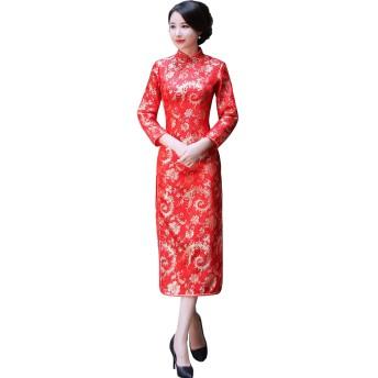 (上海物語)Shanghai Story ロング丈 チャイナドレス 女性 チャイナ服 民族衣装 長袖 チャイナ風 ワンピース レディース 中華風ドレス 中国ドレス 2XL フェニックス柄