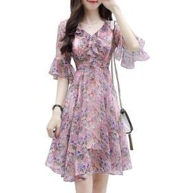 シフォンドレス 夏の新しい婦人服 韓国語版 ファッションスリム 気質ホーンスリーブ プリントスカート ドレス S-3XL (M
