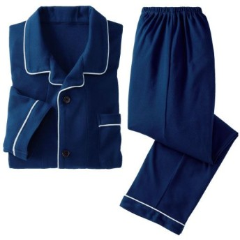 45%OFF【レディース】 綿混シャツパジャマ・ニット(男女兼用) - セシール ■カラー:ネイビーブルー ■サイズ:S