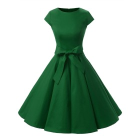 ドレッシースター 1956スイングワンピース レトロ ドレス 50年代 ロカビリー ベルト付き レディーズ アーミーグリーン XLサイズ