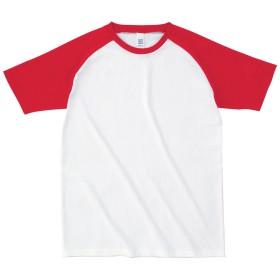 #OE1213 オープンエンドラグランTシャツ6.2oz ホワイト×スーパーレッド M