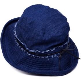 Aness (アネス) デニム ハット UVハット 2wayアレンジ リボン付き UVカット帽子 ブリムハット サイズ調整可能 UV対策 紫外線対策 フリーサイズ UV遮蔽率97% #n356 (インディゴ)