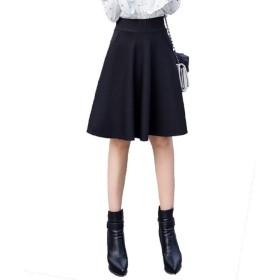 (ロンショップ)R.O.N shop きれいめ フレア Aライン スカート 上品 清楚 ひざ丈 ハイウエスト ウエストゴム ブラック ワインレッド (ブラック,XXL)
