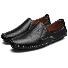 [Cici-shop] 靴 ビジネスシューズ 革靴 紳士靴 メンズ 本革 ローファー スリッポン 手作り(ブラック 26.5cm (43))