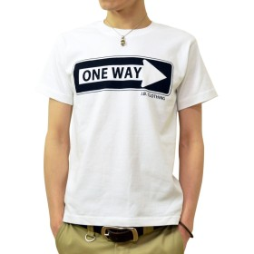 (ジーンズバグ)JEANSBUG ONE WAY オリジナル アメカジ プリント 半袖 Tシャツ メンズ レディース 大きいサイズ ST-ONEWAY XL シロ(1)