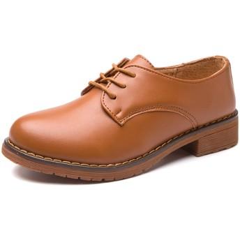 [Nomioce] オックスフォード レディース 革靴 本革 レザー 通学 通勤 レースアップ パンプス シューズ 靴 おじ靴 ヒール カジュアル 女性 ブラウン 23.5cm