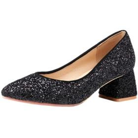 [NIGHT CHERRY] 靴 レディース ファッション プレーン パンプス ポインテッドトゥ キラキラ 靴 披露宴 39AS Black