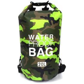 [シダーエイト] 防水バッグ アウトドア 迷彩柄 リュック ビーチバッグ プールバッグ ドライバッグ (20L, グリーン)