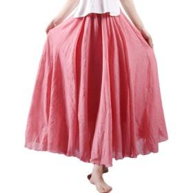 (アブロンダ)ABRONDA スカート 森ガール マキシスカート ふんわり感 ロングスカート レディーススカート 着痩せ 体型カバー ウェストゴム 春夏秋 5色選択