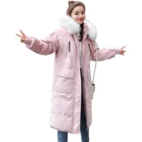 [ユケ二ー] 韓国風 通勤 長袖 ダウンジャケット 綿入りのコート ライトダウン 軽量 ダウンコート 大きい毛襟 細身 レディース ロングコート 保温 着痩せ スリム 防寒 ピンクS
