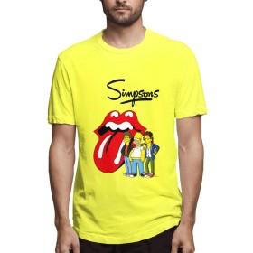 DSMT Tシャツ 半袖 服 メンズ 吸汗速乾 Tシャツシンプソンズ Simpsons 五分袖 プリント T Shirt ゆったり 夏 Tシャツ Tシャツ 半袖 メンズ S Yellow