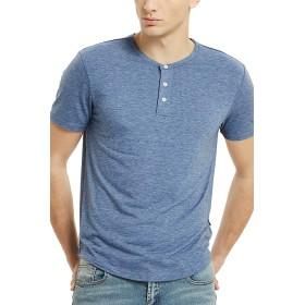 メンズ 半袖ヘンリーネックTシャツS サイズアッシュブルー