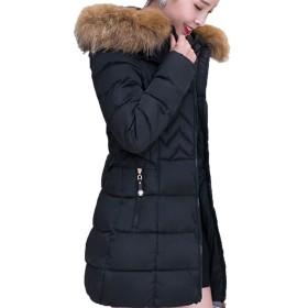 【もうほうきょう】 レディースコート 綿入りのコート 厚手 ロングコート 女性コート ダウン綿コート (ブラック, 2XL)
