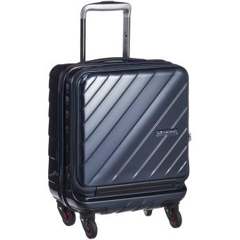 [ヒデオワカマツ] スーツケース ジッパー フロントオープン ウェーブII コインロッカー対応サイズ 機内持ち込み可 85-76560 保証付 25L 45 cm 2.8kg ネイビー