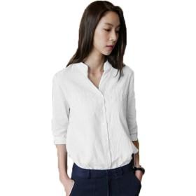 GuDeKe レディース シャツ ブラウス ロングシャツ スタンド 五分袖 薄手 ヴィンテージ ゆったり シンプル 清新 無地 着痩せ ホワイトS