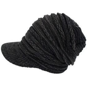 [トップイズム] ニット帽 メンズ ニット帽子 キャスケット ニットキャップ つば付き F 4-チャコール-ミックス(ニットキャスケット)