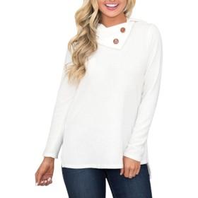 Baixnsj セーター カジュアル ボタン飾り 長袖 無地 シンプル レディース ホワイト XXL
