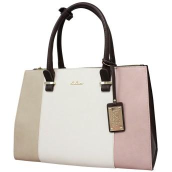 [クレリア] Clelia トートバッグ 鞄 レディース 2way B5サイズ対応 トリコロール かわいい シンプル フェイクレザー 大容量 ショルダーバッグ 【CL-22772-4】 (サクラ)
