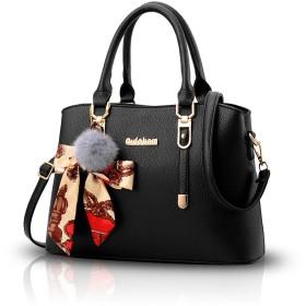 NICOLE&DORIS ハンドバッグ レディース 手提げバッグ ショルダーバッグ 2way バッグ 女性用 トートバッグ かばん 通勤 通学 大容量 バッグ アクセり付き ブラック
