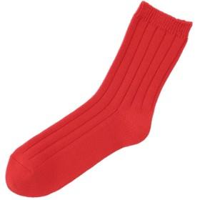 [靴下屋]クツシタヤ Newデオドラント太リブソックス 22.0~24.0cm 日本製 無地靴下 アカ