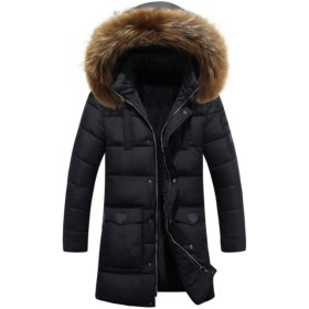 [ユケ二ー] M-3XL ダウンジャケット ストレッチ フード付き 軽い 中綿 ダウンジャケット ファー付き 秋冬 メンズ 防寒コート ブラック2XL