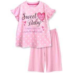 【ノーブランド品】綿100% 春・夏 半袖キッズパジャマ ガールズ 薄手のTシャツパジャマ 袖フリルハートプリント 110サイズ ピンク