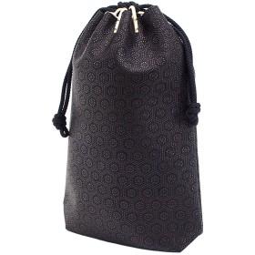 INDEN-YA 印傳屋 印伝 合切袋 巾着 メンズ 男性用 黒×黒 亀甲 3005-01-003