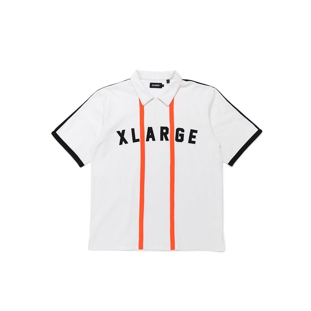 XLARGE HALF ZIP SHIRT 形象款橘色直條+黑色袖邊POLO衫 01192408
