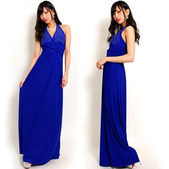 華麗 ゴージャスジルコンドレープロングドレス ブルーD-376