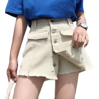 (ニカ)レディース ショートパンツ 夏 デニム パンツ おしゃれ キュロットスカート ハイウエスト ハーフパンツ 偽二つ ゆったり 短パン Aタイプ 半パンツ 薄手 パンツ ポケットを付け 通学 通学ベージュT1