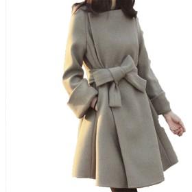 TAOHUA 中長款コート スウェット チュニックコート 着やせコート ツイードジャケット 無地ブラウスス ムートンコート (M, ベージュ)