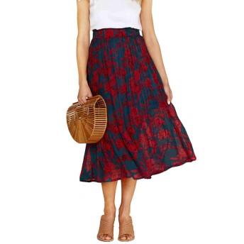 [AnW] フレアスカート ロング プリーツスカート スカート (紺×赤, M)