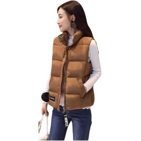 MLbossダウン ベスト レディース スリム 中綿ベスト 無地 綿入れベスト 韓国ファッション 防寒 袖なし 冬服(Pブラウン)